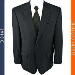 JOS A BANK 42R Charcoal / Blue Wool Lined Blazer